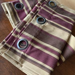 Set of 2 Plum and gold striped curtains